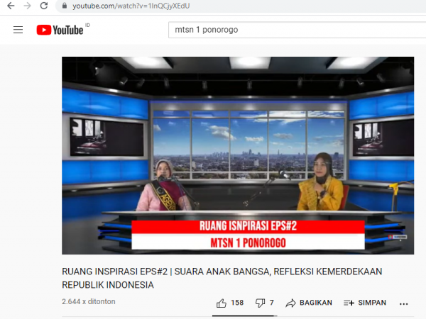 "RUANG INSPIRATIF MTSN 1 PONOROGO EPISODE 2 ""SUARA ANAK BANGSA"""